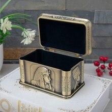 Египетский стиль бронзовый цвет металлический контейнер для хранения ювелирных изделий Органайзер металлический кейс ящик Органайзер Z189