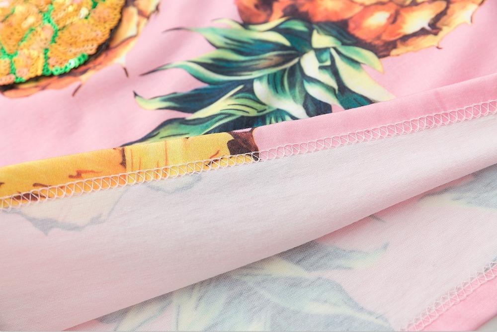 HTB11J yQVXXXXaxaXXXq6xXFXXXY - Top Hot Sequined Print Pineapple Women t shirt Short Sleeve