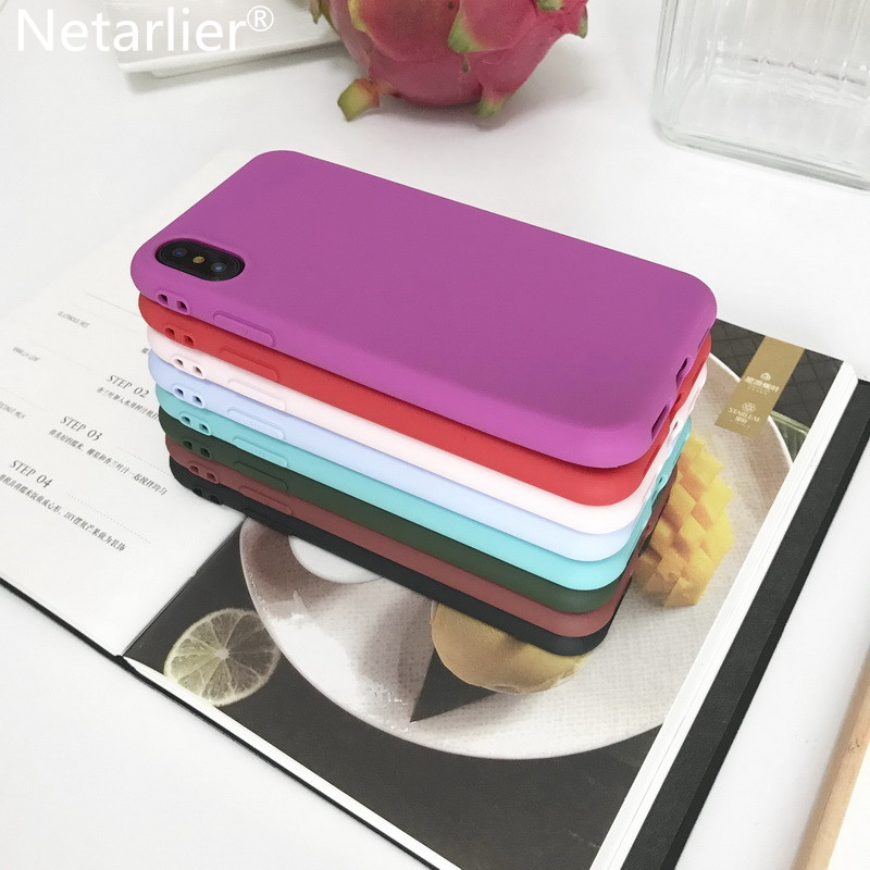 Netarlier Case For iPhone X 10 5.8inch Matte Plain Candy Case High Quality Silicon Soft Black Pink Purple Mint Green Blue Cover