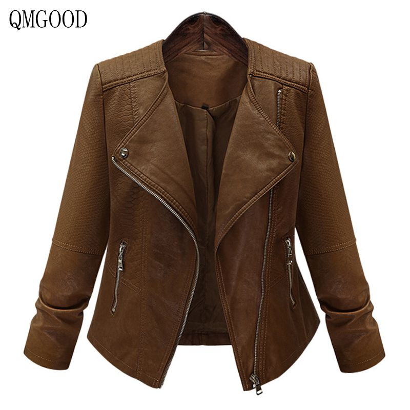 QMGOOD 2018 New Autumn Winter Women   Leather   Coat Female Slim Short   Leather   Jacket Women's Outerwear Plus Size XL-5XL Fashion
