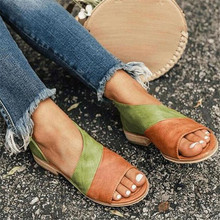 Summer new fish mouth shoes color matching mouth low square with large size ladies sandals fashion casual shoes women sandals цены онлайн