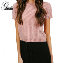 Gold Hands Sweat Women Solid Pink Crop Tops O-Neck Patchwork Knitted Sweater Female Brief Casual Preppy Style Cropped Pullovers