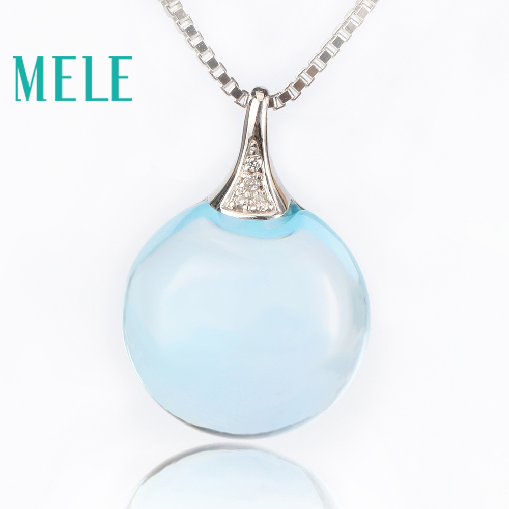 Real 18K gold natural blue topze pendants for women,Simple fashion fine gemstone summer jewelry fine jewelry collection real 18k white gold natural green jade gemstone animal shape pendant necklace fine pendants