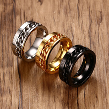 Fashion Men Spinner Ring Jewelry Stainless Steel Gold Color Rings Man Party Black Color Rings For Male Trendy Silver Color Ring fashion stainless steel silver color men spinner ring punk jewelry personality male rings size 7 8 9 10 11 12