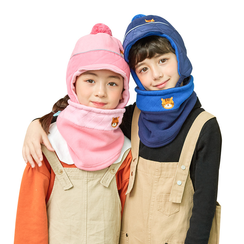 Korean Style Children Hat Scarf Sets Velvet Warm Kids Boys Fur Hats Winter 2 Pcs Baby Girl Scarf Hat Set Age For 5-12 Years Old