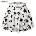 Cute Comic Eyes Printing Women Skirts High Waist Mini Skirts Fashion Cartoon Pattern Faldas Mujer 2017 Elastic Loose Saias