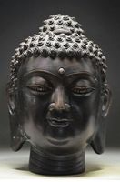 7.4 inch / Elaborate Chinese ancient copper Buddha head statue