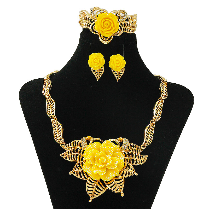 <font><b>2019</b></font> Rots Store Direct Dubai Gold <font><b>Jewelry</b></font> Crystal Exaggerate New Yellow Rose Woman <font><b>Jewelry</b></font> Accessories Bridal <font><b>Jewelry</b></font> <font><b>Sets</b></font> image