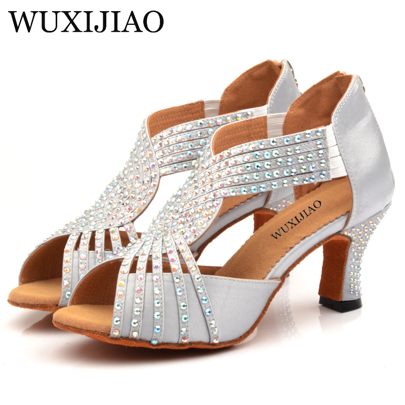WUXIJIAO Diamond Silver Satin Latin Dance Shoes Woman Salsa Party Rhinestones Ballroom Dancing Shoes Med Heel 7cm Zipper
