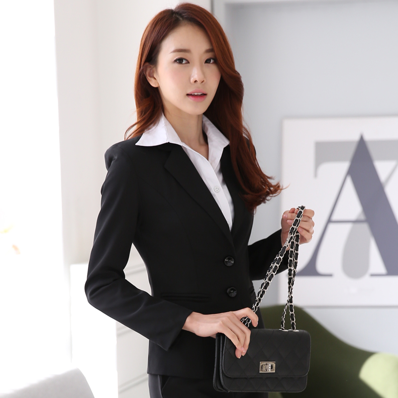 Spring autumn womens pant suits 2015womens office wear long-sleeved suit jacket + trousers 2 pieces set - European American fashion store