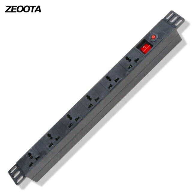 1U PDU tira de alimentación gabinete enchufe Universal 10A aleación de aluminio 6 vías tomas interruptor de protección de sobrecarga 2 m extensión cable