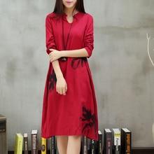 New Autumn Summer Dress Ethnic Print Cotton Linen Women's Clothing Long Sleeve O-Neck Casual Loose Long Dresses Robe