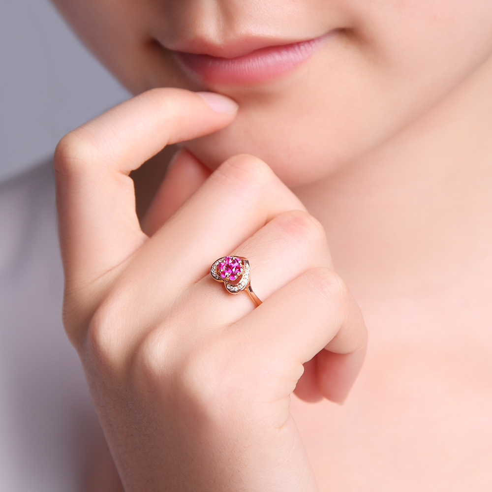 LOVE Heart Jewelry GVBORI Natural 18K Gold & Natural Ruby Red ...