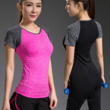 Workout Sports T-Shirt Women Fitness Yoga Clothes Quick Dry Elastic Bodybuilding Gym Running Tops Shirts Sportswear For Girls