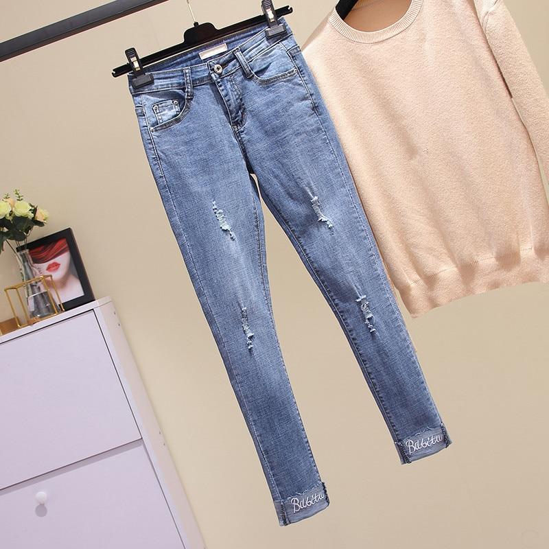 Las Elástico Mujer Pantalones 4xl Mujeres Moda 2018 Xl Lápiz Agujero  Rasgado Azul Jeans Vaqueros Para Del Nueva Denim Bordado IfHO1wq8 10ccc2901035