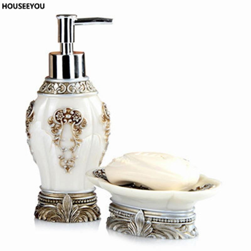 2pcs set noble luxurious elegant soap dish european lotion dispenser shampoo bottle organizer. Black Bedroom Furniture Sets. Home Design Ideas