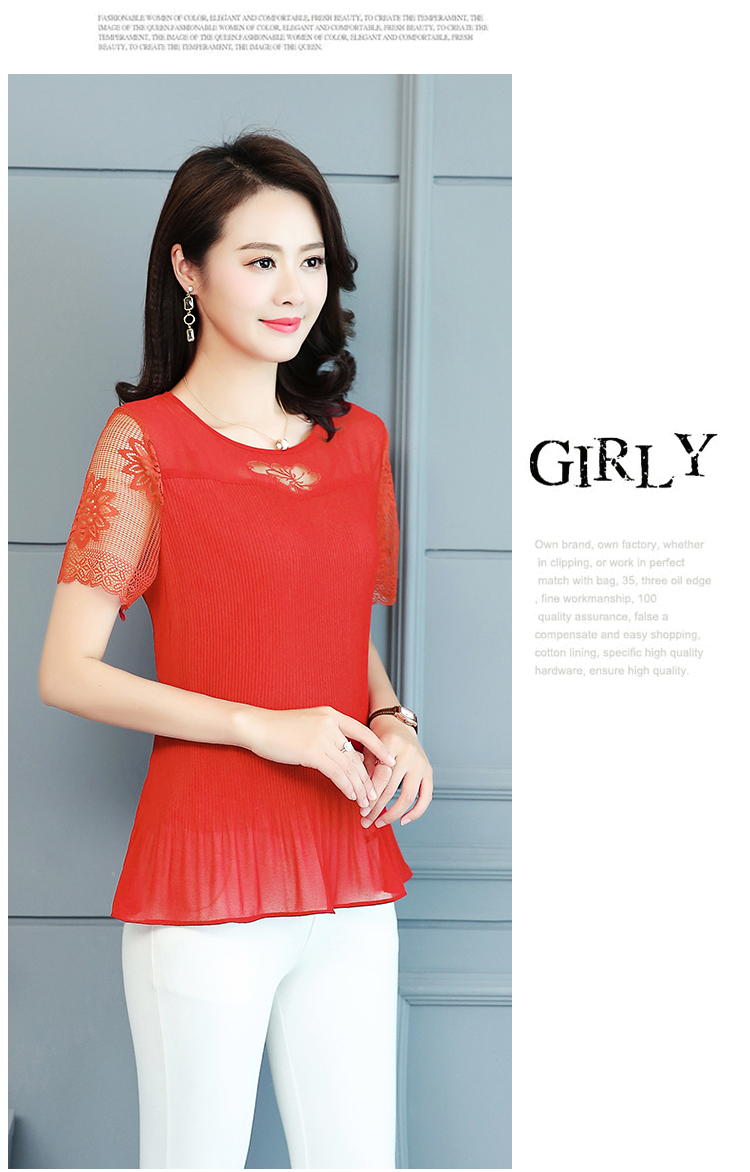 2019 Summer Top and Blouses Women Plus Size Clothes Red Green Yellow Pink Pleated Top Patchwork Lace Chiffon Peplum Top 5XL 4XL 36