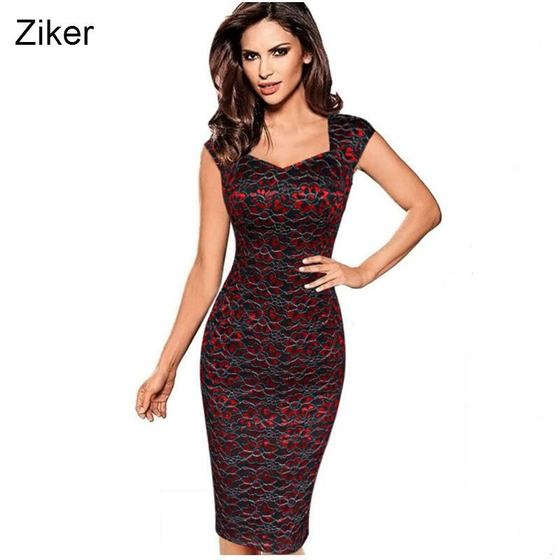 Ziker Brand Womens Sexy Elegant Summer Floral Flower Lace Cap Sleeve Slim Casual Party Fitted Sheath