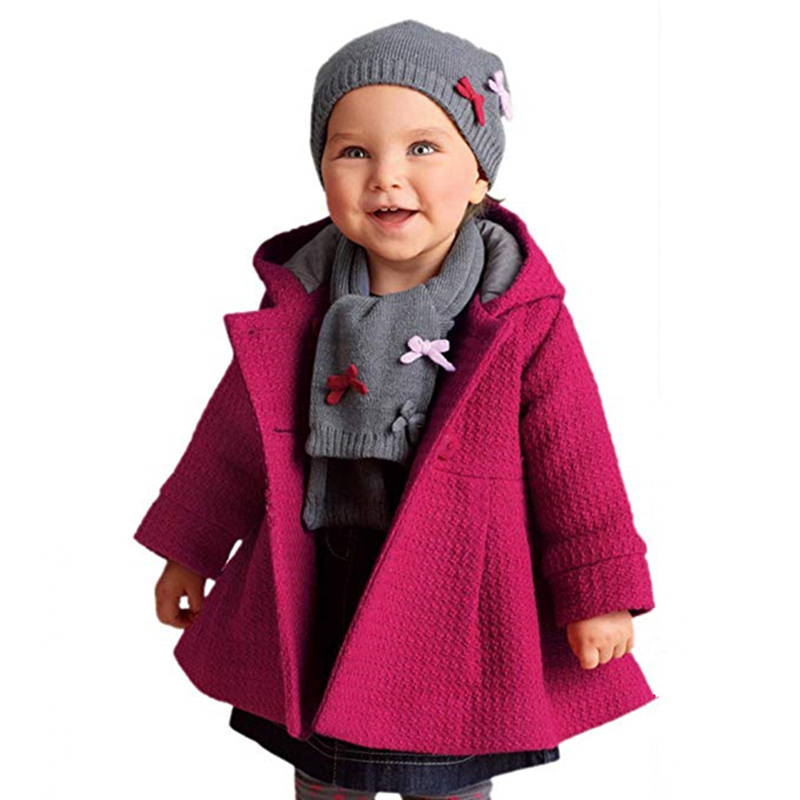 Girls Jackets Autumn Winter Baby Long-sleeved Hooded Jackets New-arrival Solid Color Baby Girls Clothes Party Wearing 9-24M W