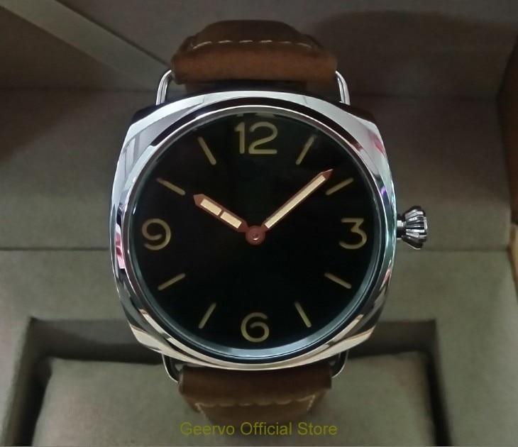 47 مللي متر GEERVO الأسود الهاتفي الآسيوية 6497 17 جواهر الميكانيكية اليد الرياح حركة ساعة رجالي ساعات آلية 0202A-في الساعات الميكانيكية من ساعات اليد على  مجموعة 1