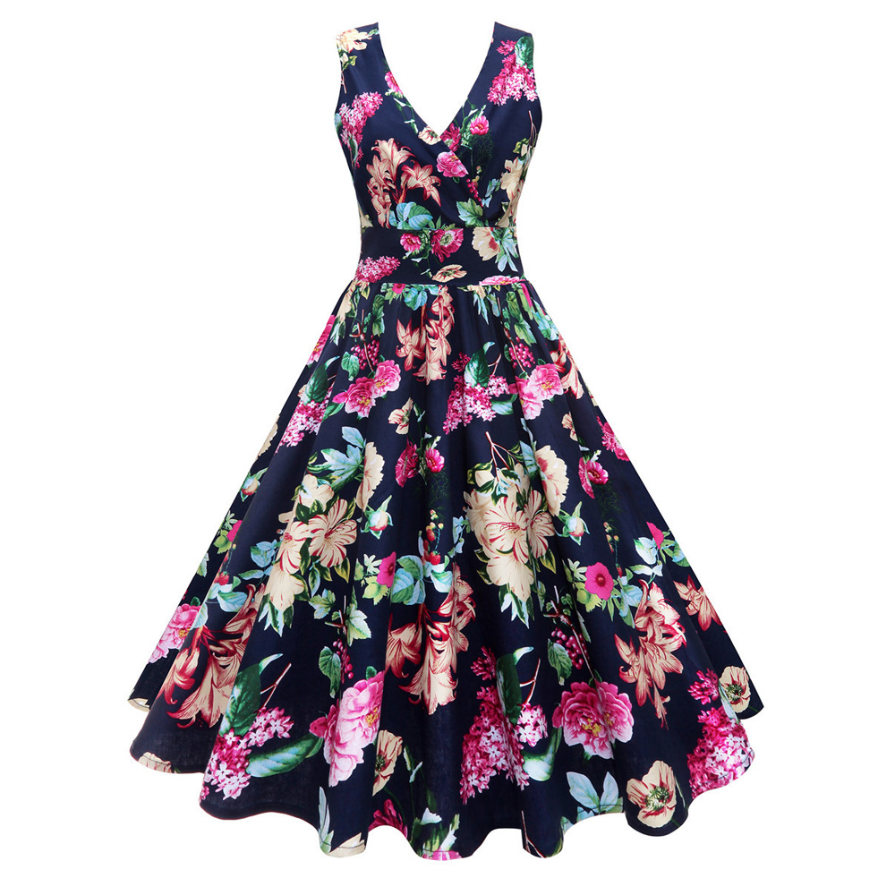 Women Plus Size Dress 4xl 5xl Floral Print Robe Vintage Gown Sleeveless Summer Tunic Swing Party Midi Pin Up Rockabilly Dresses