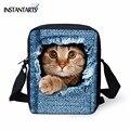Мгновенные милые школьные сумки с изображением кота для девочек  маленький детский сад  Детская сумка на плечо  детская синяя джинсовая сум...