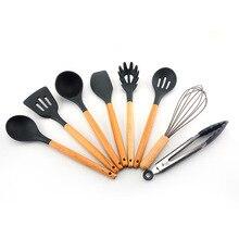 New wooden handle silicone kitchenware set Non-stick kitchen shovel spoon set of 8 Kitchen tool set цены