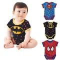2016 New Summer Baby Rompers Short Seeve Baby Jumpsuit Superman Baby Bodysuit Spiderman Batman Boys Children Infant Clothes