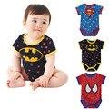 2016 nova verão bebê macacão curto Seeve bebê macacão Superman camiseta Spiderman Batman crianças roupas infantis