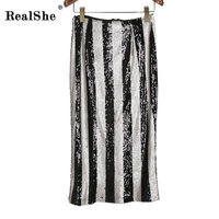 RealShe Fashion High Waist Sexy Skirts 2019 Ladies Summer Slim Club Party Long Skirt Sexy Bodycon Sequins Skirt Jupe Femme
