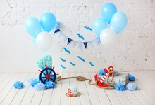 Laeacco Gray Brick Wall Balloons Flower Child Birthday Party Wooden Floor Photo Backgrounds Photography Backdrops Studio