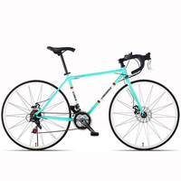 Road Bike Variable Speed Double Disc Brake 21 Speed Broken Wind Curved Handle Women and Men Adult Bicycle