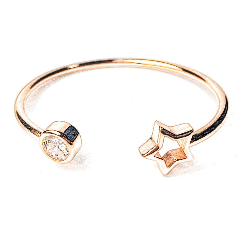 2018 Rose Gold Color Bangles Five-pointed Star Round Bracelet & Bangles, Most Fashion Bangle Jewelry Bijoux Best Gift For Women