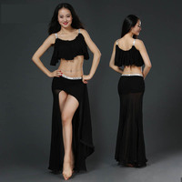 Modal Belly Dance Spaghetti Strap Crop Top Placketing Skirt Sexy Belly Dance 2pcs Set For Women
