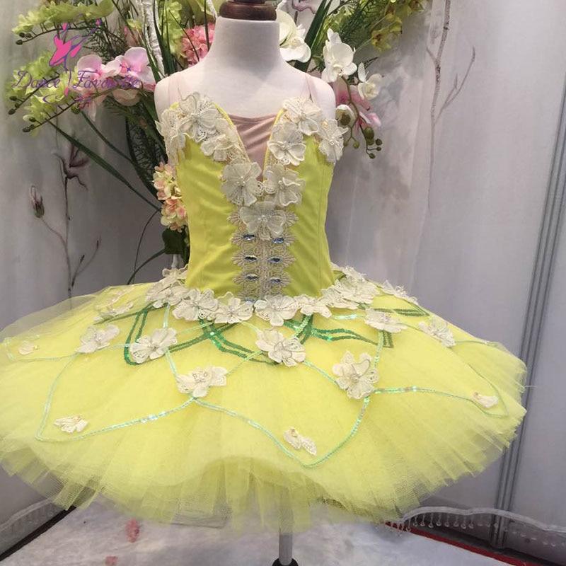 Light yellow color professional ballet tutu women & girl stage performance ballet costume tutu ballerina dance tutu