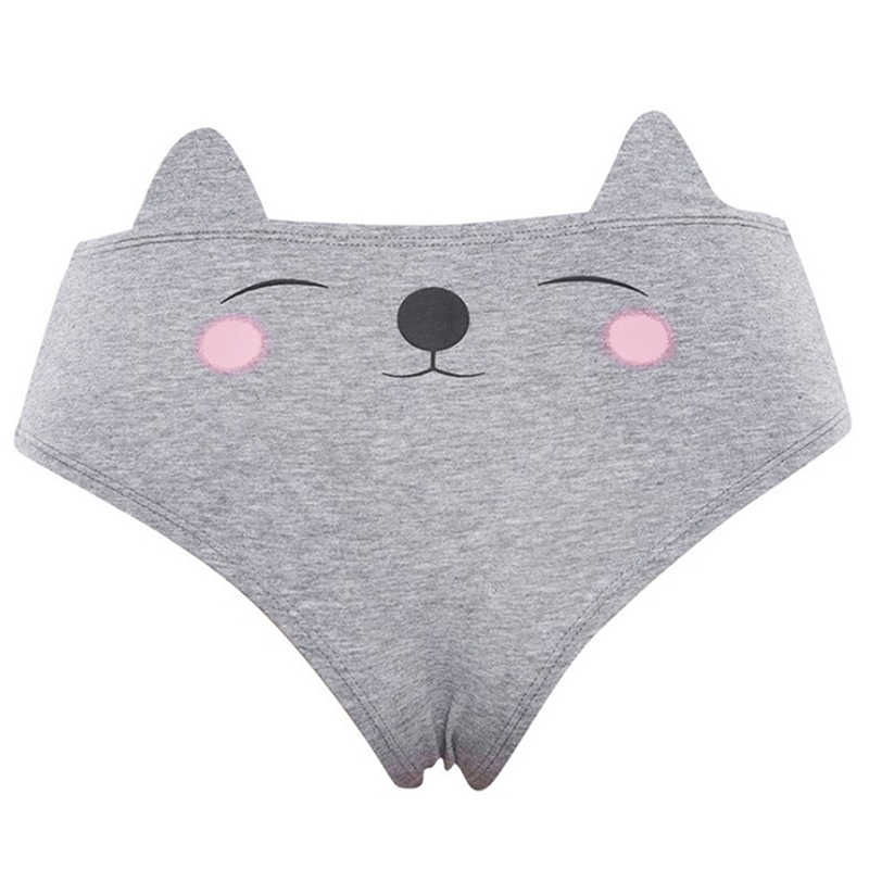 ผู้หญิง 3d พิมพ์สัตว์น่ารักกางเกงกับแมวหูฟ็อกซ์หูหมู Wolf พิมพ์ชุดชั้นในเซ็กซี่ใหม่ Arrivo