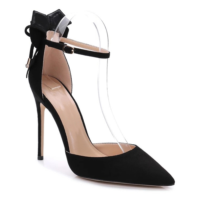 a Sandali Party Donna Scarpe Wet Black Moda punta Tacchi Kiss Donna Ankle Flock Stiletto Shoes Summer Flange I0wzqUC