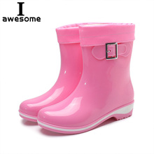 Women Rain Boots Rubber Boots Flower Bowtie Spring Ankle Boot Female Waterproof Solid Shoes Non-slip Rain Shoe Ladies Casual цена 2017
