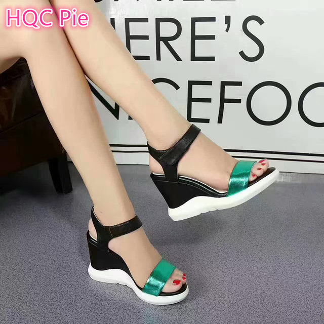 401f3370399c 2017 new design girls quality leather wedges sandals women s fashion summer  nice sandals green silver casual wedge shoes 8  WX12