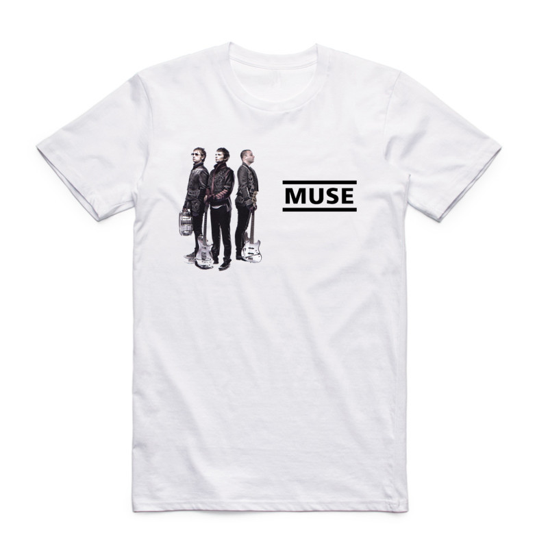 Men Print MUSE British Music Rock Band White T Shirt Summer O Neck Short Sleeve Harajuku Resistance Uprising Rock T-shirt