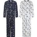 De lujo de los hombres de Mediana Edad padre pijamas ropa de noche de seda de algodón de Verano de manga larga Pijama Conjunto de salón