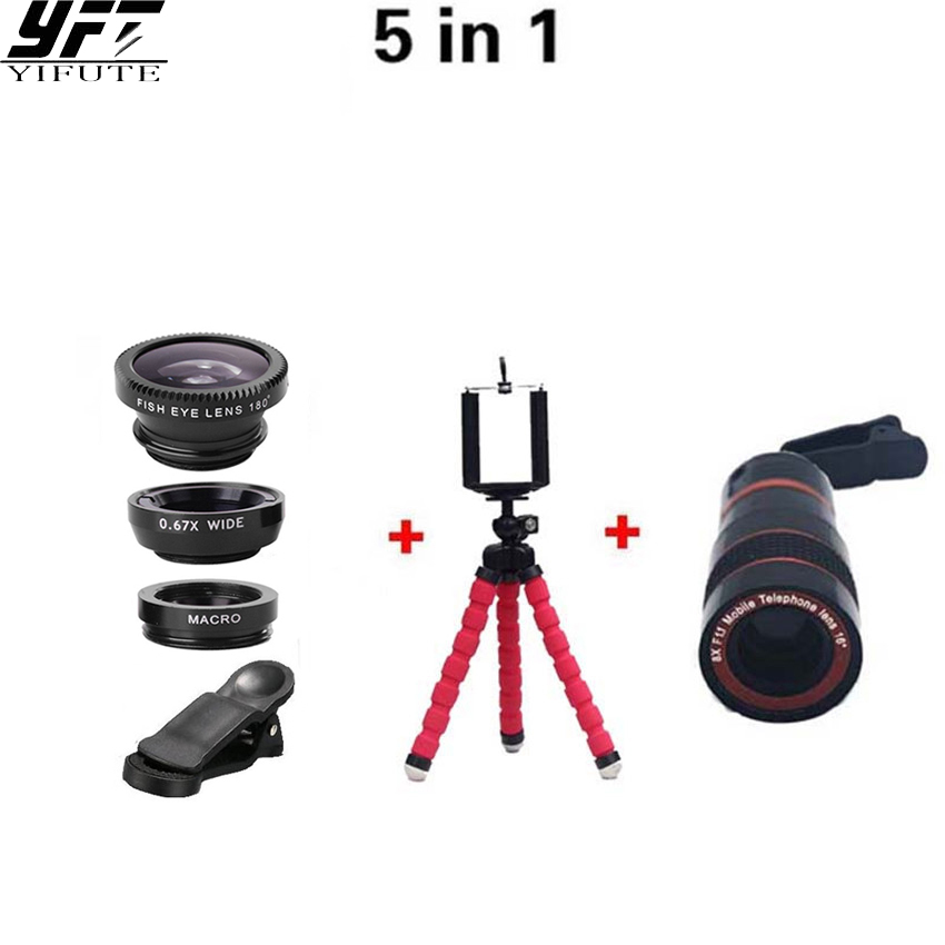 Universal Cell Phone Camera Lens 8X Zoom Telephoto Fisheye Wide Angle Macro Lens Flexible Tripod for iPhone 6s Other smartphone