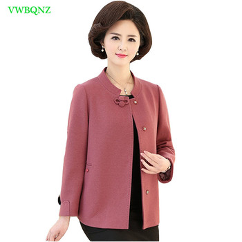 Middle-aged Women Short Woolen Jacket Spring Autumn New Loose Half high collar Wool coat Noble Ladies Plus size Outerwear A66