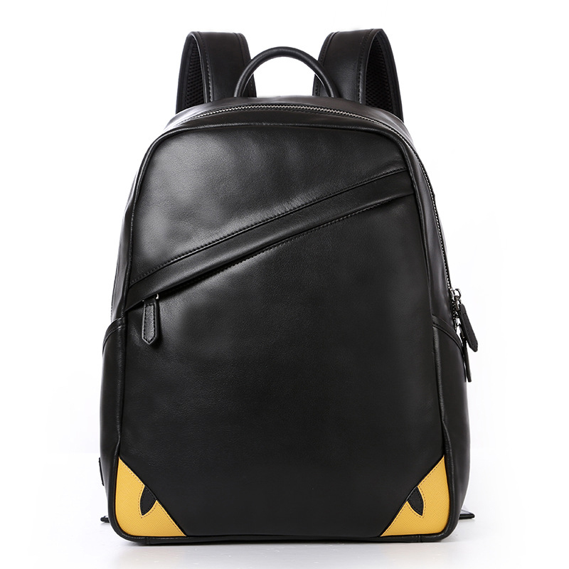 New Fashion Men Backpacks Fashion 100% Genuine Leather Boy Business Computer Backpack Real Natural Leather Student School Bag