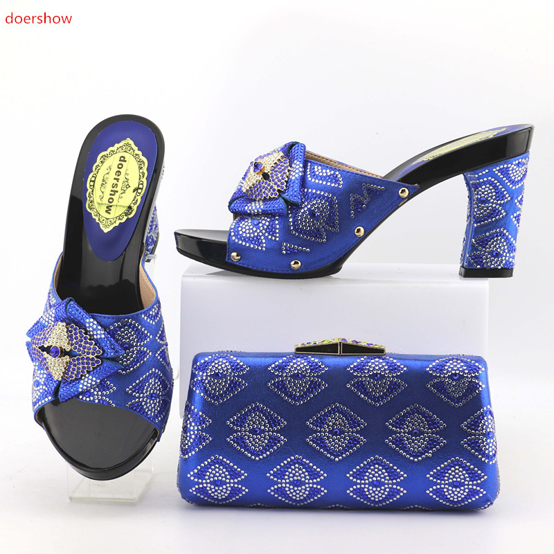 doershow royal blue Fashion Italian Shoes With Matching Bags Set For Wedding African Shoes And Bag Sets With Rhinesotne SOP1-6 free shipping newest shoes matching bags royal blue italian designer shoes and bags ct16 06