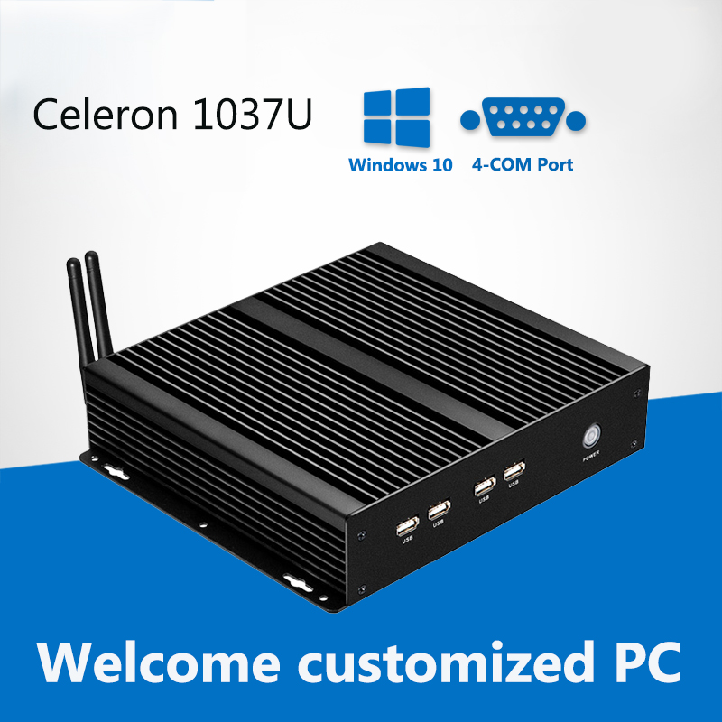 Fanless Mini PC 4*COM Intel Celeron 1037U 1.80GHz Mini Computer Windows Ubuntu Industrial Computer Desktop 4*RS232 8*USB Fanless