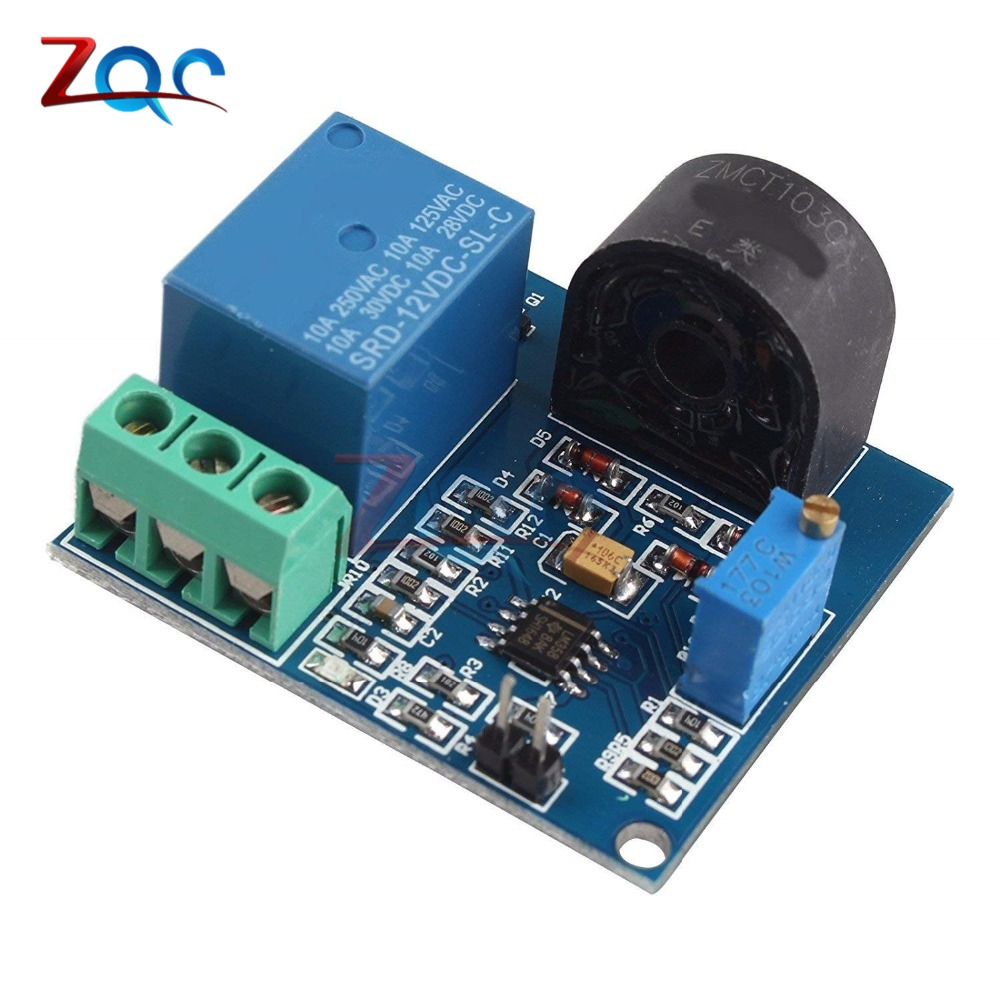 AC Current Detection Sensor Module 5V 12V 24V Relay Protection Module 5A Over-Current Overcurrent Protection Switch Output