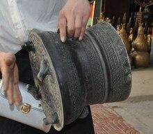 Antike Alte Chinese Folk pur bronze Bufo Frosch schlaginstrument Drums Drum