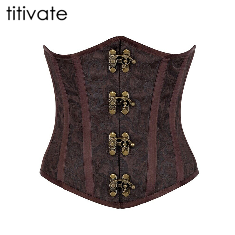 TITIVATE Sexy Steel Boned Gothic Lingerie Bustiers Brown Satin Jacquard Corset Underbust Corsets Plus Size S-6XL