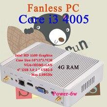 Мини-ПК Intel Core i3 4005Y 4 ГБ оперативной памяти Нет хранения Max 2.08 ГГц VGA HDMI 4 К HTPC небольшой TV Box Windows 10 Безвентиляторный Barebone USB 3.0